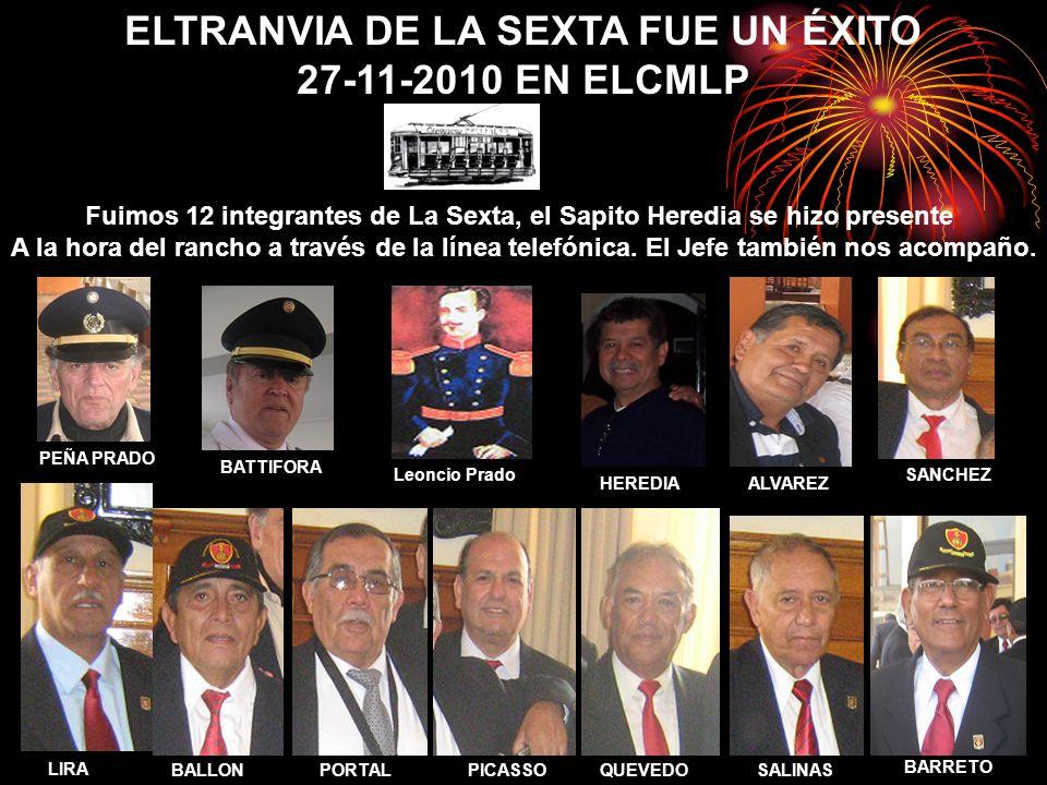 ELTRANVIA DE LA SEXTA FUE UN ÉXITO 27-11-2010 EN ELCMLP Fuimos 12 integrantes de La Sexta, el Sapito Heredia se hizo presente A la hora del rancho a través de la línea telefónica.