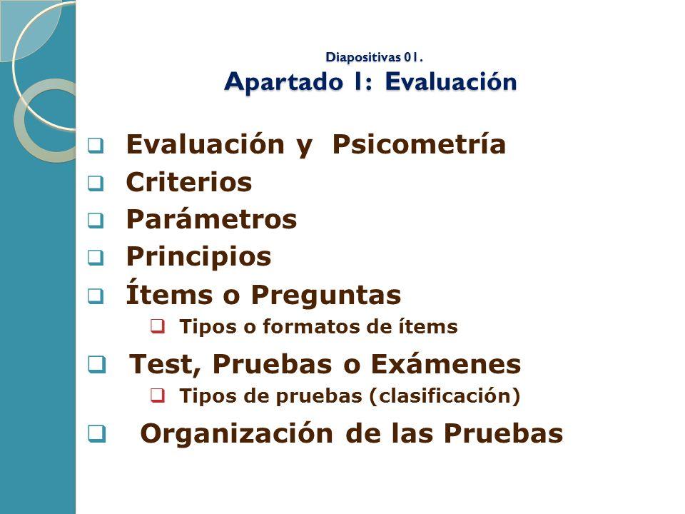 Diapositivas 01. Apartado 1: Evaluación Diapositivas 01. Apartado 1: Evaluación Evaluación y Psicometría Criterios Parámetros Principios Ítems o Pregu