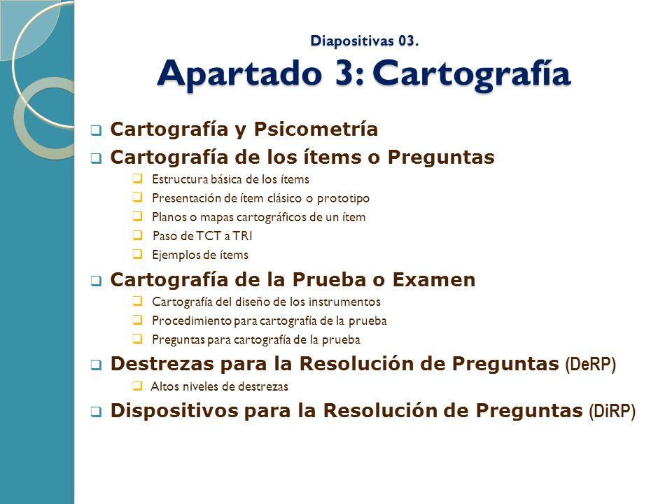 Diapositivas 03. Apartado 3: Cartografía Cartografía y Psicometría Cartografía de los ítems o Preguntas Estructura básica de los ítems Presentación de