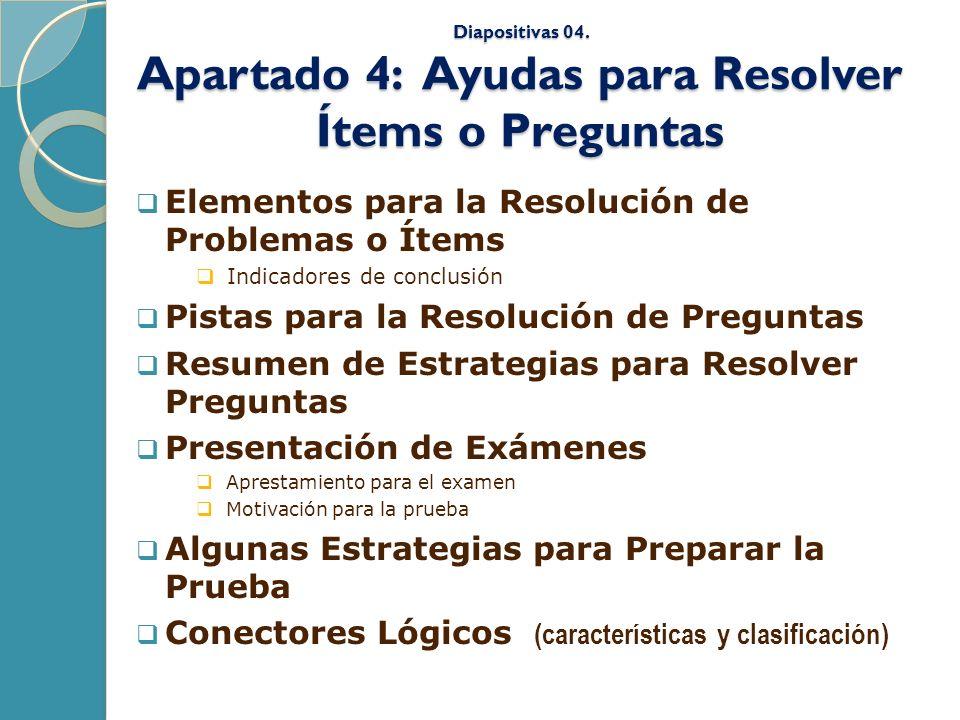 Diapositivas 04. Apartado 4: Ayudas para Resolver Ítems o Preguntas Elementos para la Resolución de Problemas o Ítems Indicadores de conclusión Pistas