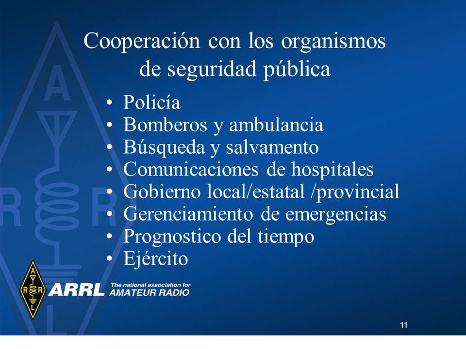 11 Cooperación con los organismos de seguridad pública Policía Bomberos y ambulancia Búsqueda y salvamento Comunicaciones de hospitales Gobierno local
