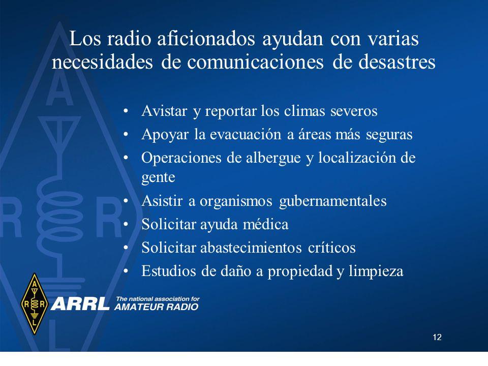 12 Los radio aficionados ayudan con varias necesidades de comunicaciones de desastres Avistar y reportar los climas severos Apoyar la evacuación a áre