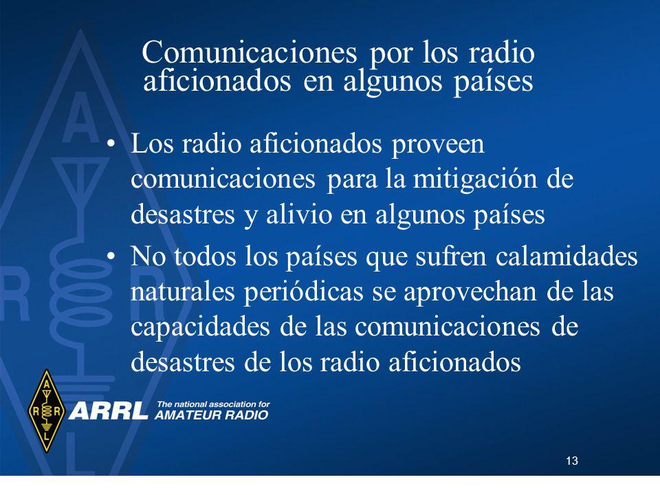 13 Comunicaciones por los radio aficionados en algunos países Los radio aficionados proveen comunicaciones para la mitigación de desastres y alivio en