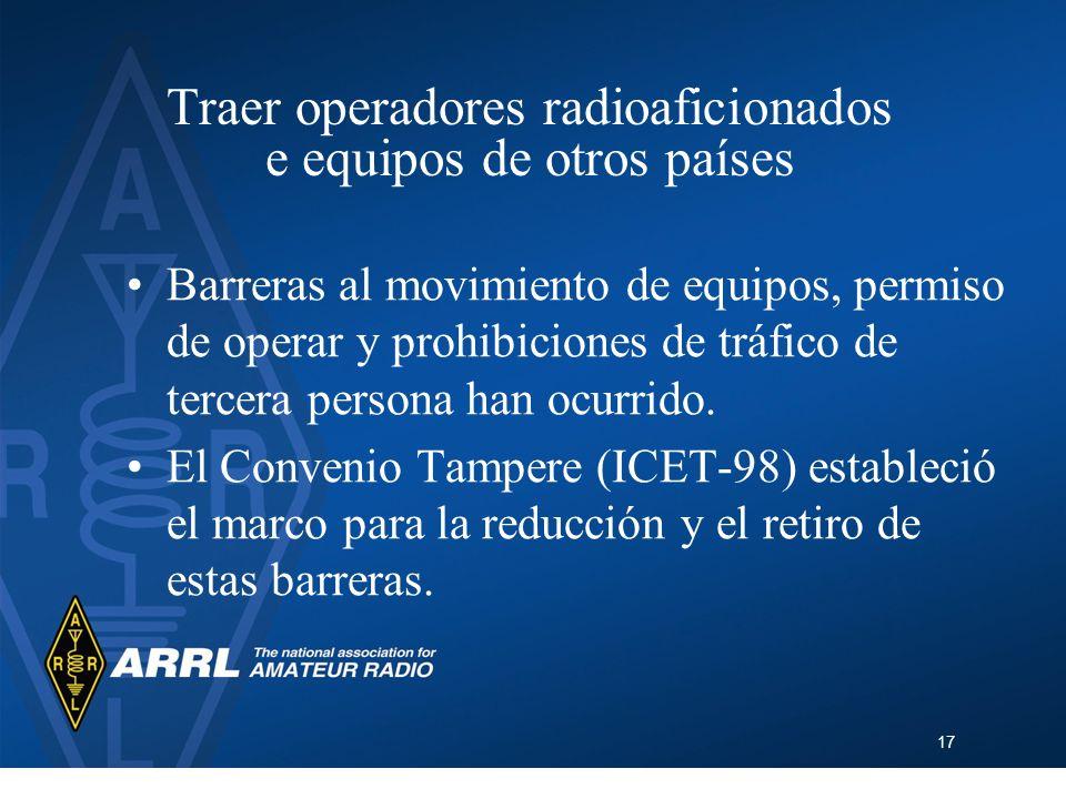 17 Traer operadores radioaficionados e equipos de otros países Barreras al movimiento de equipos, permiso de operar y prohibiciones de tráfico de terc
