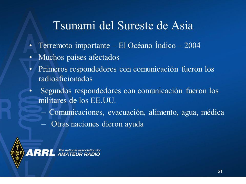 21 Tsunami del Sureste de Asia Terremoto importante – El Océano Índico – 2004 Muchos países afectados Primeros respondedores con comunicación fueron l