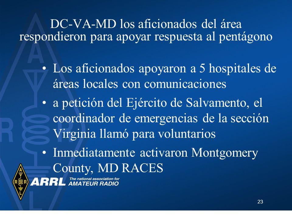 23 DC-VA-MD los aficionados del área respondieron para apoyar respuesta al pentágono Los aficionados apoyaron a 5 hospitales de áreas locales con comu