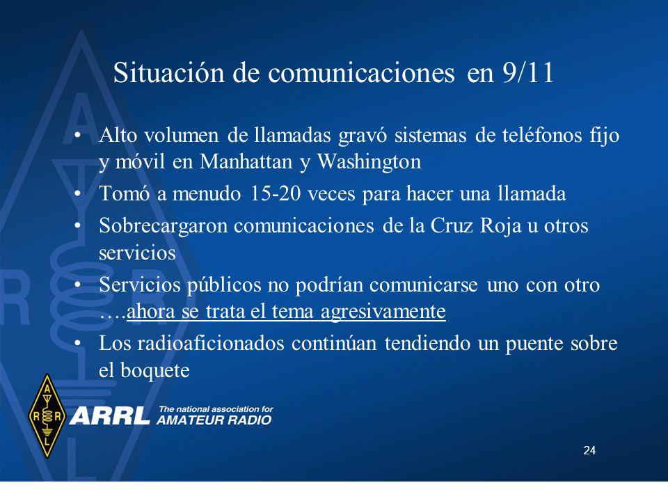 24 Situación de comunicaciones en 9/11 Alto volumen de llamadas gravó sistemas de teléfonos fijo y móvil en Manhattan y Washington Tomó a menudo 15-20
