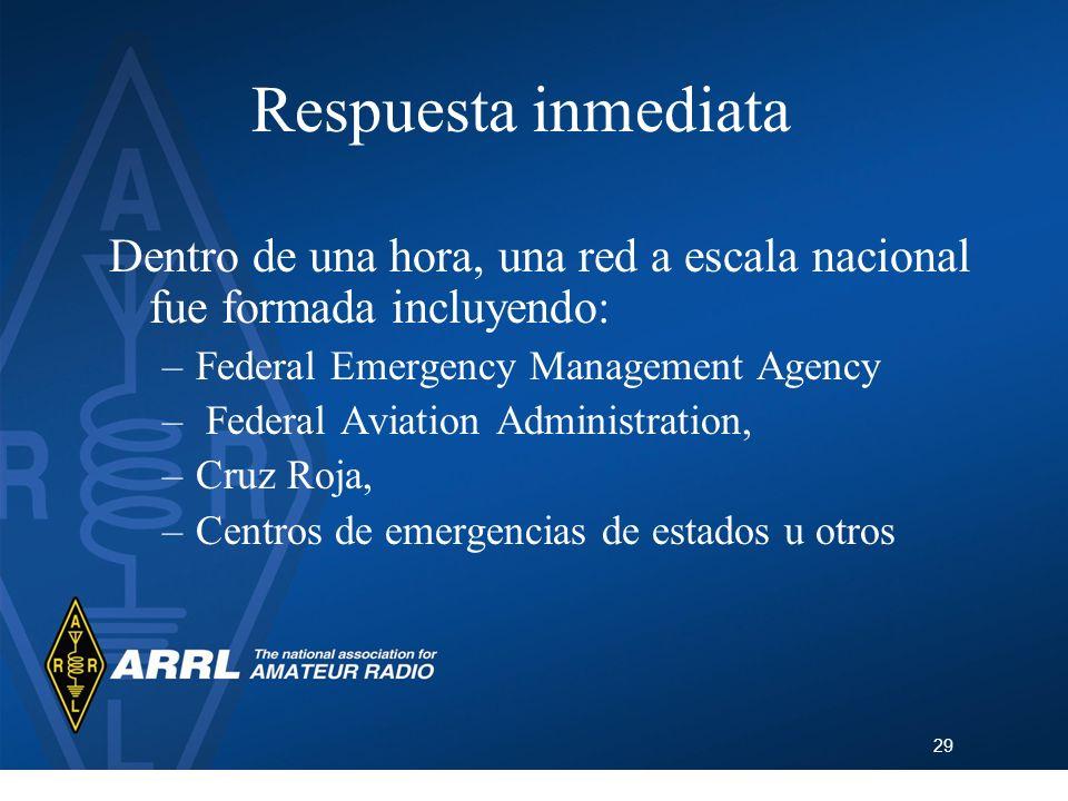 29 Respuesta inmediata Dentro de una hora, una red a escala nacional fue formada incluyendo: –Federal Emergency Management Agency – Federal Aviation A