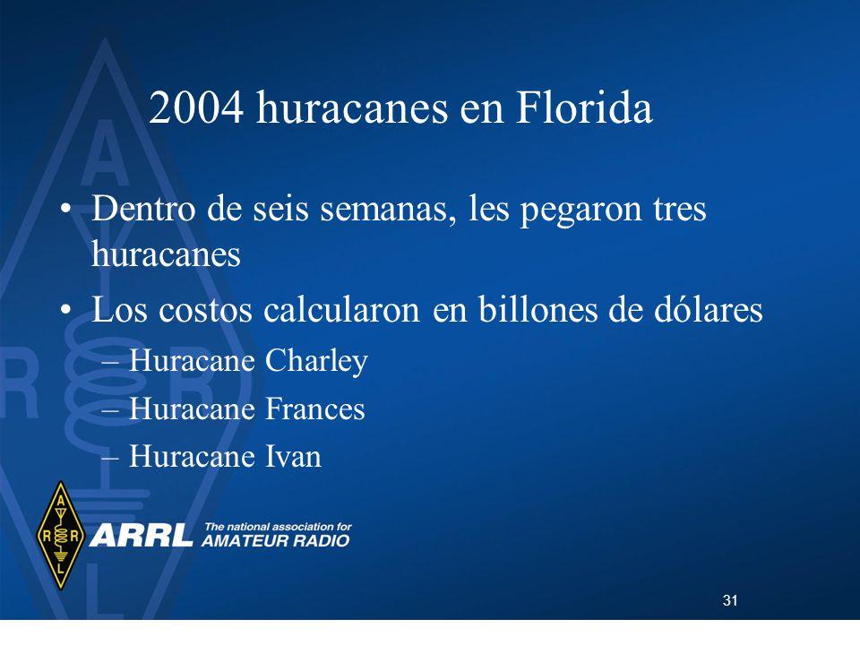 31 2004 huracanes en Florida Dentro de seis semanas, les pegaron tres huracanes Los costos calcularon en billones de dólares –Huracane Charley –Huraca
