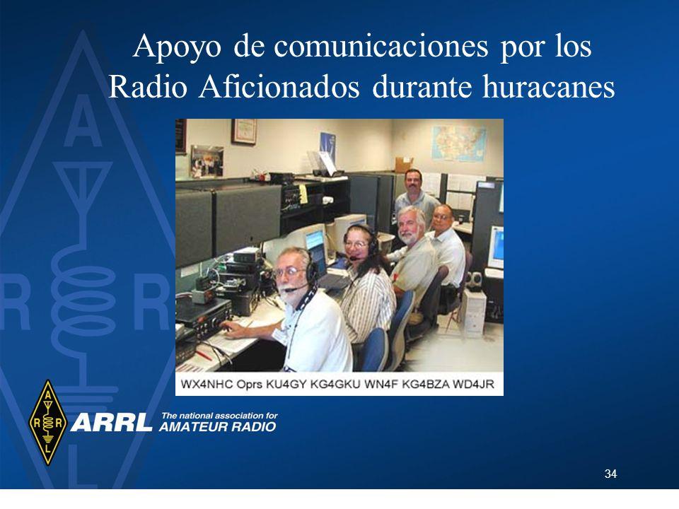 34 Apoyo de comunicaciones por los Radio Aficionados durante huracanes