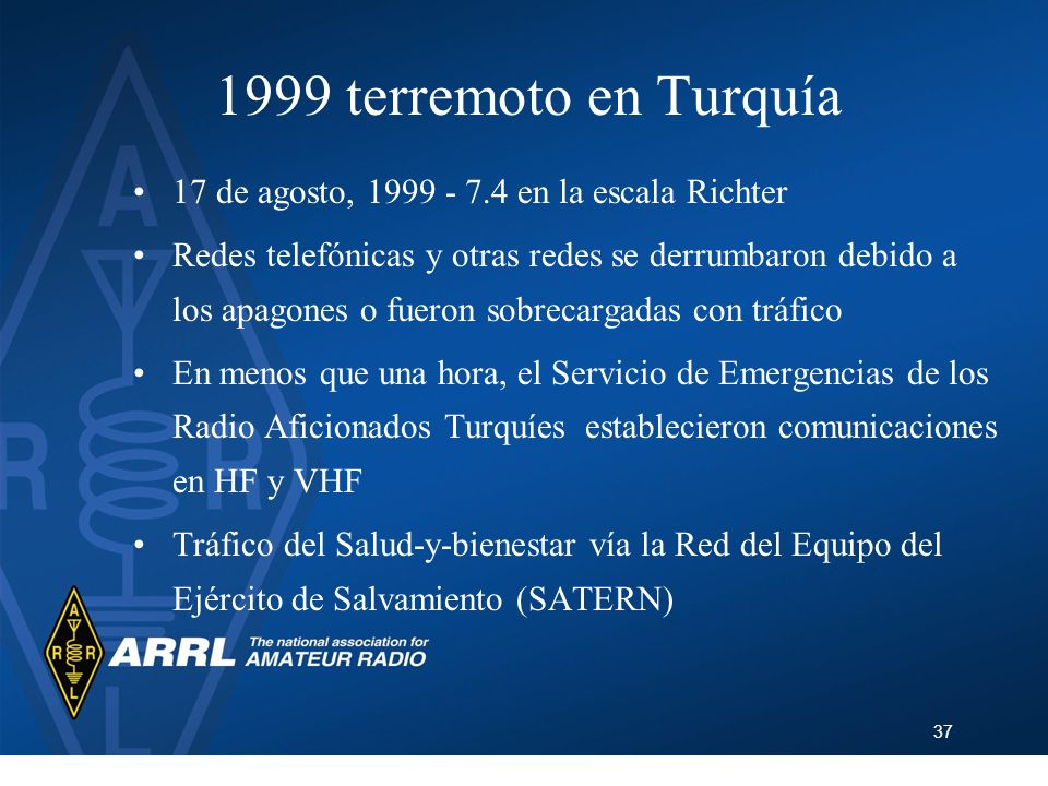 37 1999 terremoto en Turquía 17 de agosto, 1999 - 7.4 en la escala Richter Redes telefónicas y otras redes se derrumbaron debido a los apagones o fuer