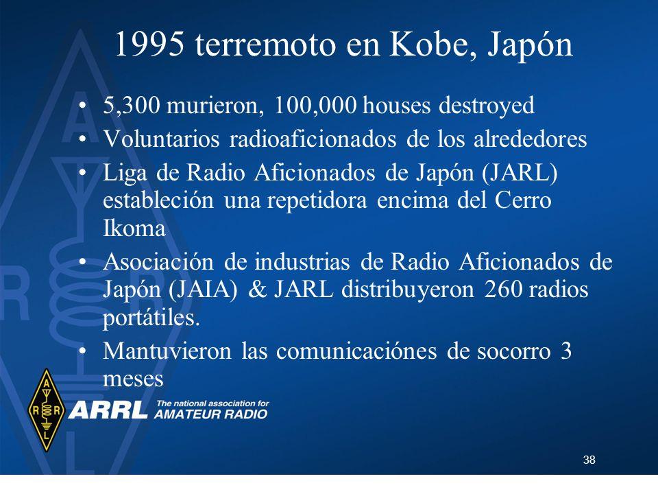 38 1995 terremoto en Kobe, Japón 5,300 murieron, 100,000 houses destroyed Voluntarios radioaficionados de los alrededores Liga de Radio Aficionados de
