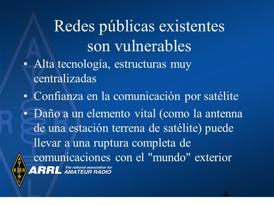 Redes públicas existentes son vulnerables Alta tecnología, estructuras muy centralizadas Confianza en la comunicación por satélite Daño a un elemento