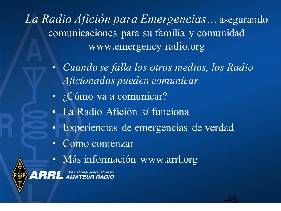 La Radio Afición para Emergencias … asegurando comunicaciones para su familia y comunidad www.emergency-radio.org Cuando se falla los otros medios, lo