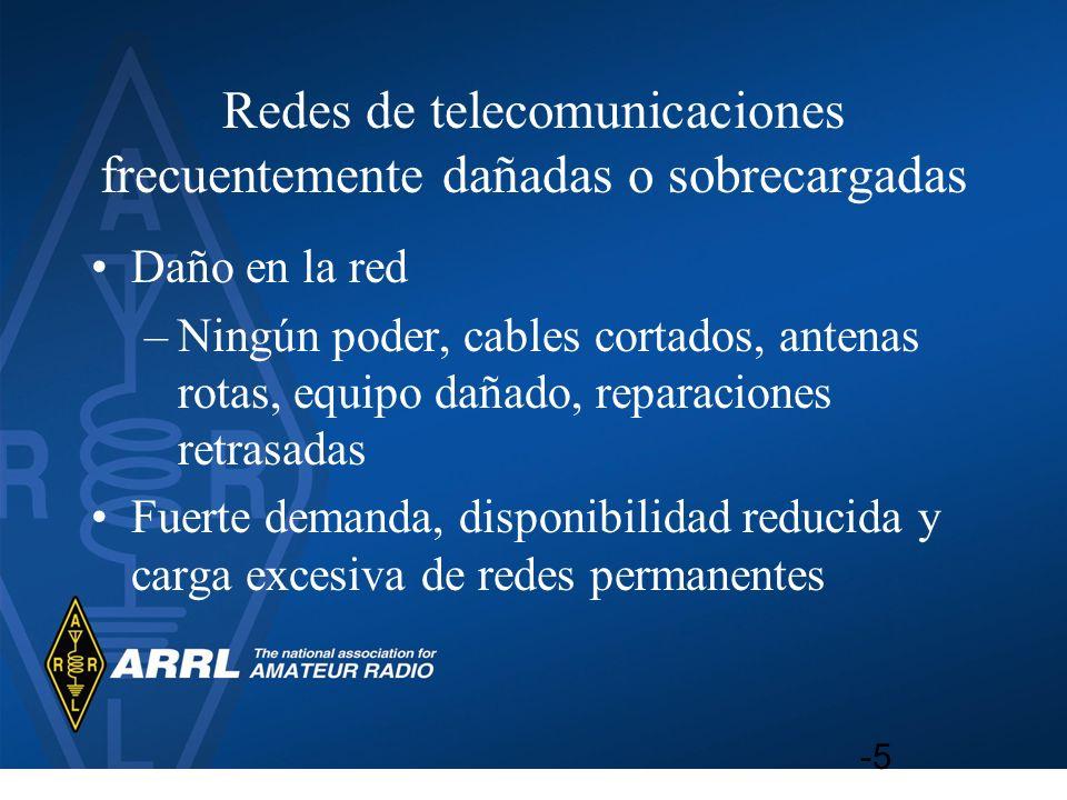Redes de telecomunicaciones frecuentemente dañadas o sobrecargadas Daño en la red –Ningún poder, cables cortados, antenas rotas, equipo dañado, repara