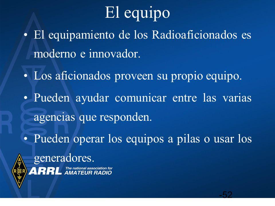 El equipo El equipamiento de los Radioaficionados es moderno e innovador. Los aficionados proveen su propio equipo. Pueden ayudar comunicar entre las