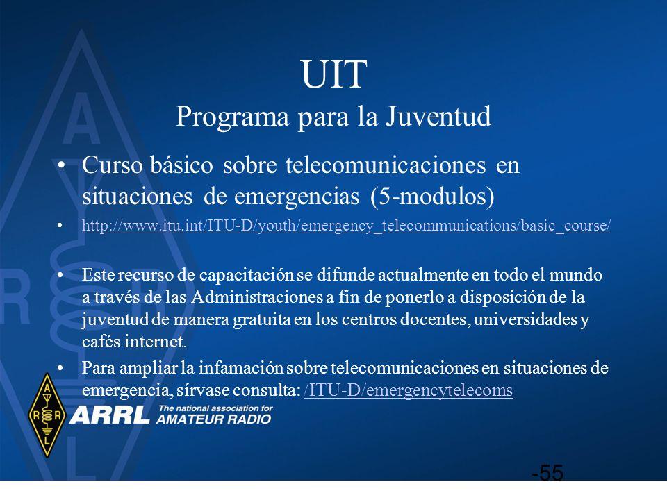 UIT Programa para la Juventud Curso básico sobre telecomunicaciones en situaciones de emergencias (5-modulos) http://www.itu.int/ITU-D/youth/emergency