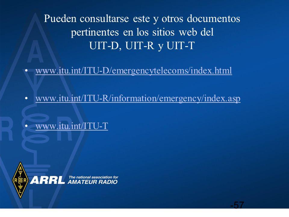 Pueden consultarse este y otros documentos pertinentes en los sitios web del UIT D, UIT R y UIT T www.itu.int/ITU D/emergencytelecoms/index.htmlwww.it