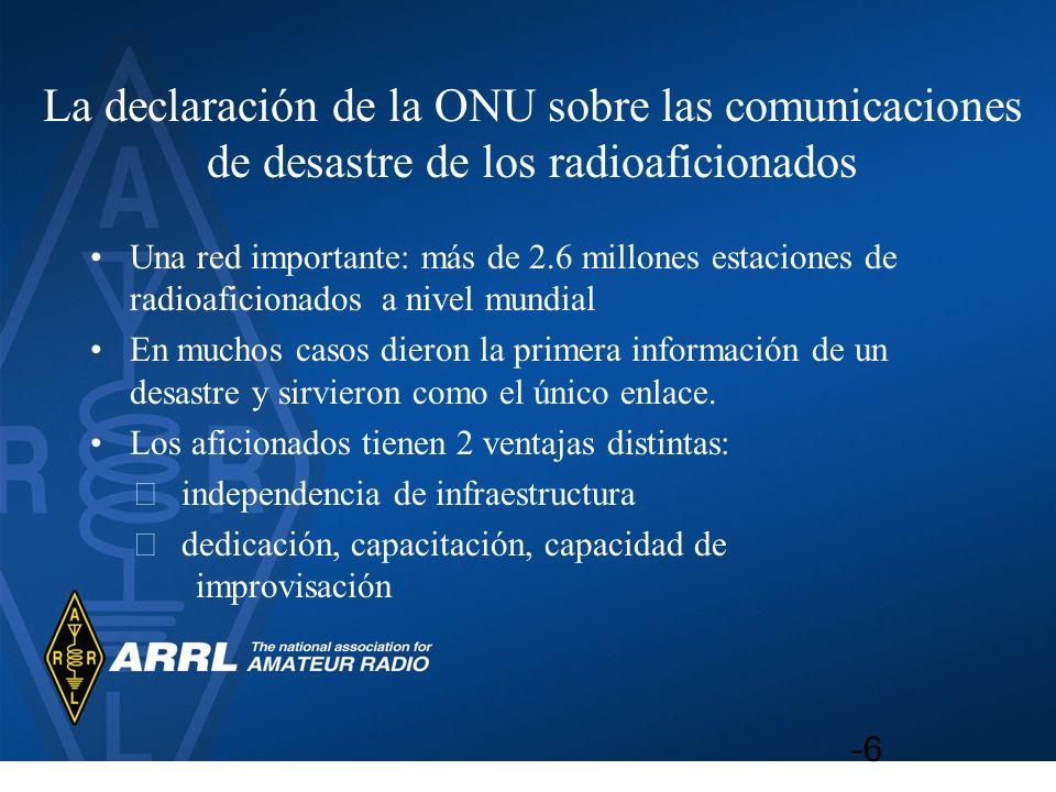 La declaración de la ONU sobre las comunicaciones de desastre de los radioaficionados Una red importante: más de 2.6 millones estaciones de radioafici