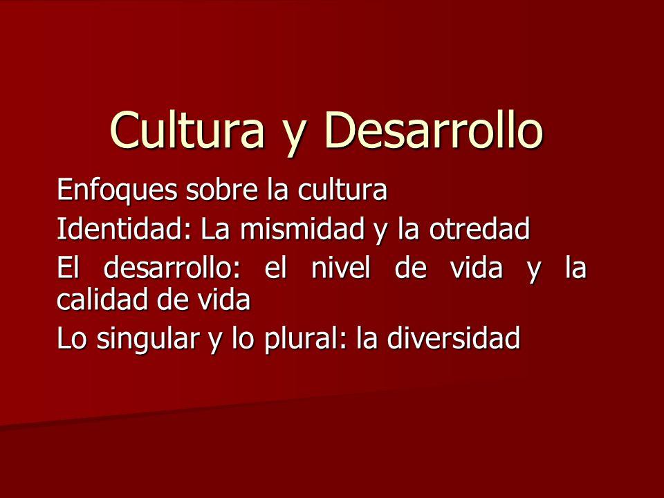 Cultura y Desarrollo Enfoques sobre la cultura Identidad: La mismidad y la otredad El desarrollo: el nivel de vida y la calidad de vida Lo singular y
