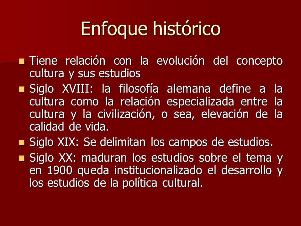 Enfoque histórico Tiene relación con la evolución del concepto cultura y sus estudios Tiene relación con la evolución del concepto cultura y sus estud