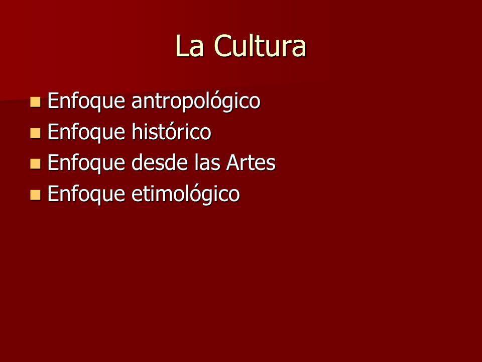 La Cultura Enfoque antropológico Enfoque antropológico Enfoque histórico Enfoque histórico Enfoque desde las Artes Enfoque desde las Artes Enfoque eti