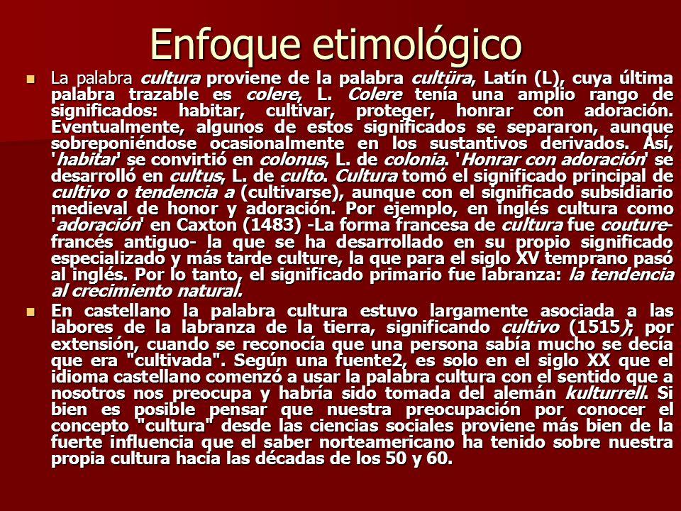 Enfoque etimológico La palabra cultura proviene de la palabra cultüra, Latín (L), cuya última palabra trazable es colere, L. Colere tenía una amplio r