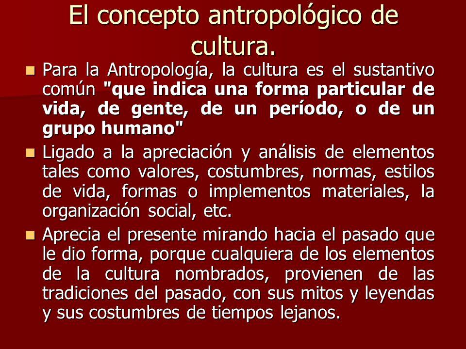 El concepto antropológico de cultura. Para la Antropología, la cultura es el sustantivo común