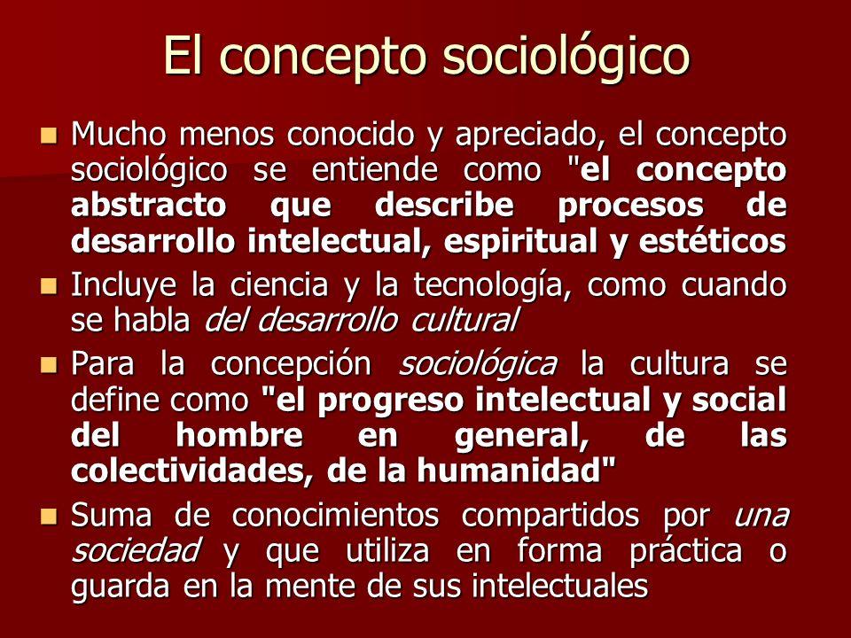 El concepto sociológico Mucho menos conocido y apreciado, el concepto sociológico se entiende como