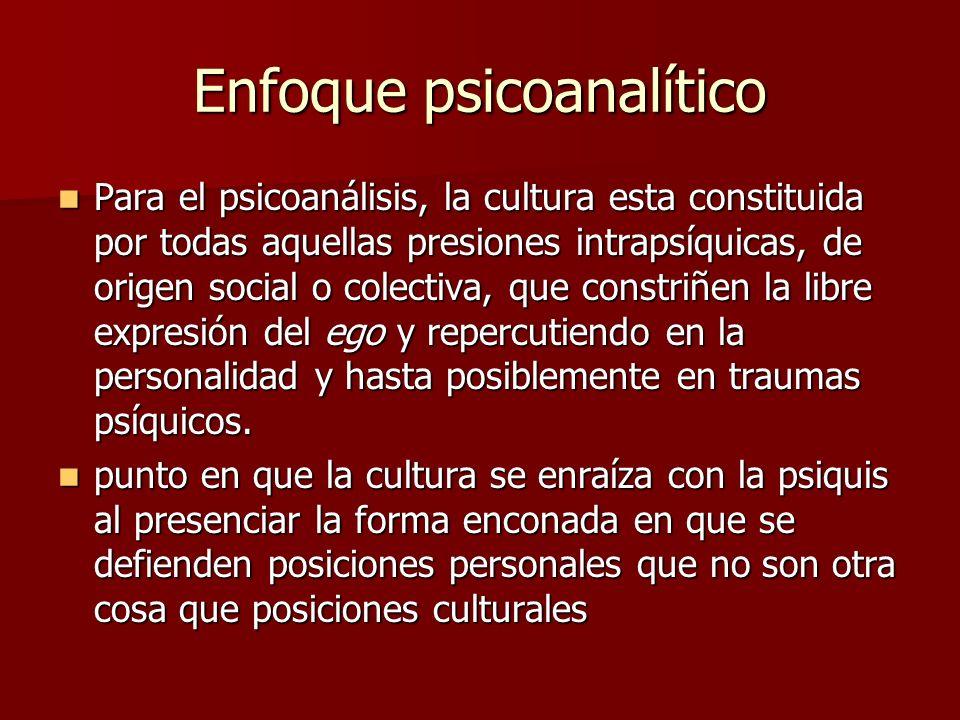 Enfoque psicoanalítico Para el psicoanálisis, la cultura esta constituida por todas aquellas presiones intrapsíquicas, de origen social o colectiva, q