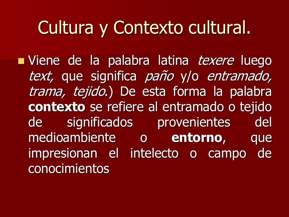 Cultura y Contexto cultural. Viene de la palabra latina texere luego text, que significa paño y/o entramado, trama, tejido.) De esta forma la palabra