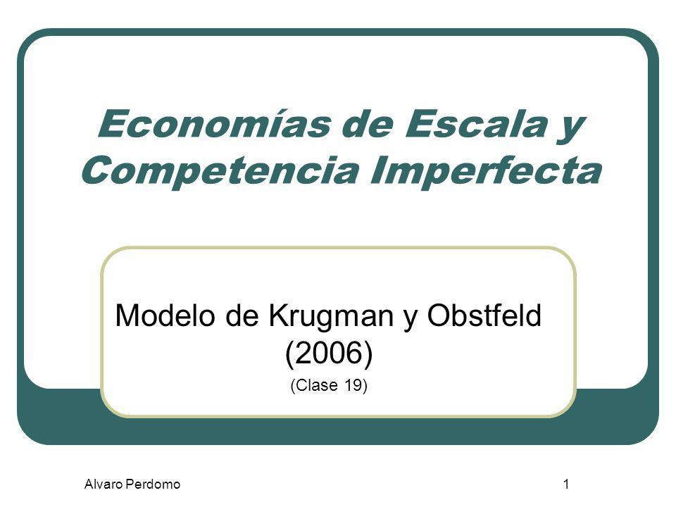 Alvaro Perdomo 22 Supuestos claves Los modelos de competencia monopolística tienen dos supuestos claves que los diferencian de los modelos de competencia perfecta y de los modelos de monopolio: 1.Cada empresa puede diferenciar su producto del de sus rivales.