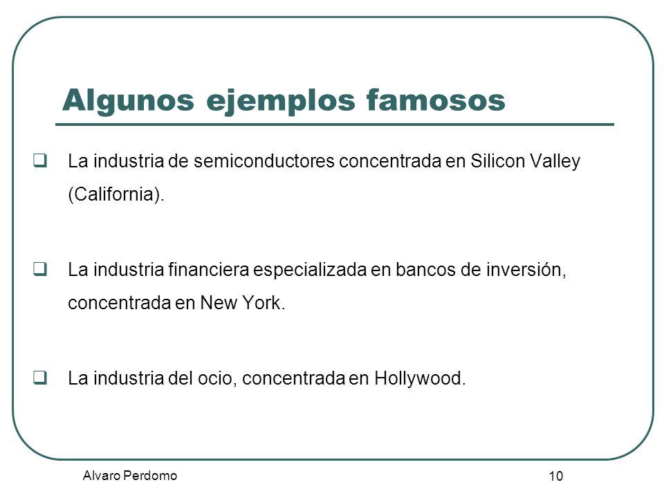 Alvaro Perdomo 10 Algunos ejemplos famosos La industria de semiconductores concentrada en Silicon Valley (California). La industria financiera especia