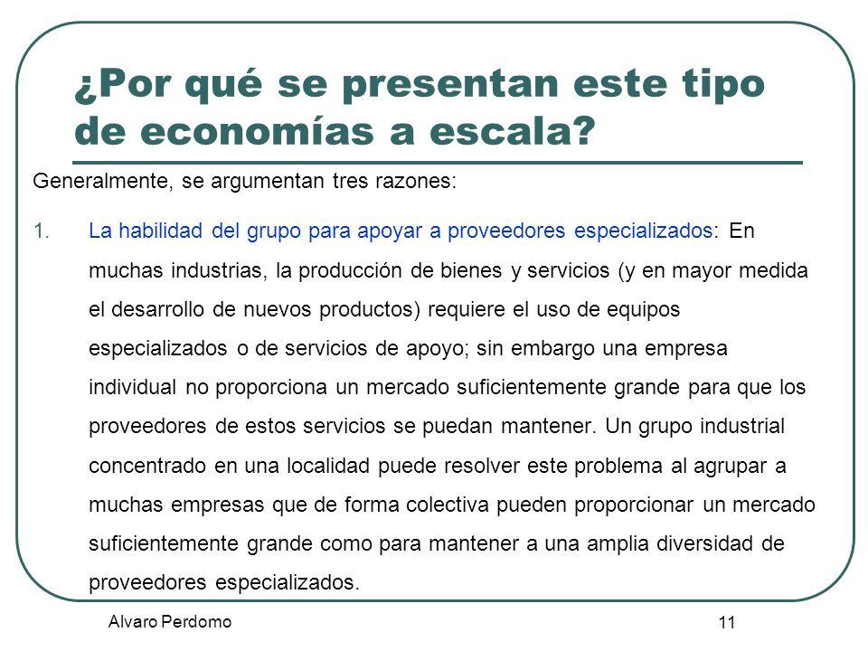 Alvaro Perdomo 11 ¿Por qué se presentan este tipo de economías a escala? Generalmente, se argumentan tres razones: 1.La habilidad del grupo para apoya