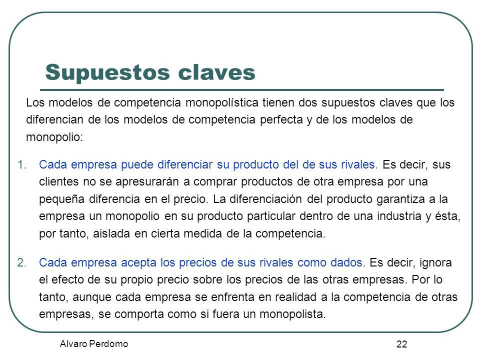 Alvaro Perdomo 22 Supuestos claves Los modelos de competencia monopolística tienen dos supuestos claves que los diferencian de los modelos de competen