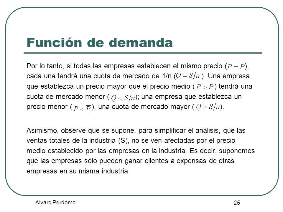 Alvaro Perdomo 25 Función de demanda Por lo tanto, si todas las empresas establecen el mismo precio ( ), cada una tendrá una cuota de mercado de 1/n (