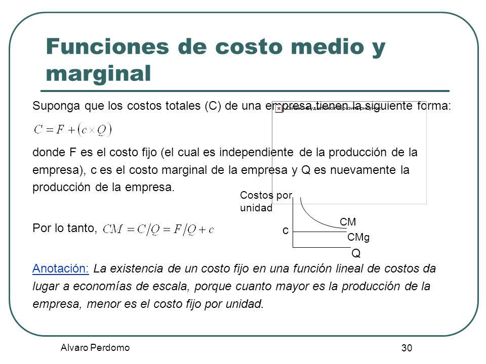 Alvaro Perdomo 30 Funciones de costo medio y marginal Suponga que los costos totales (C) de una empresa tienen la siguiente forma: donde F es el costo