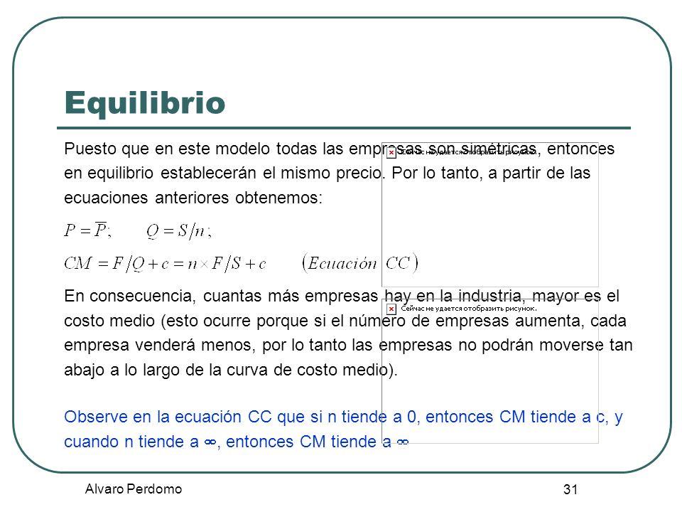 Alvaro Perdomo 31 Equilibrio Puesto que en este modelo todas las empresas son simétricas, entonces en equilibrio establecerán el mismo precio. Por lo