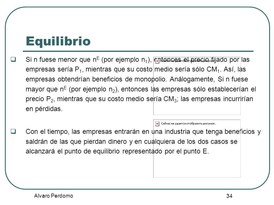 Alvaro Perdomo 34 Equilibrio Si n fuese menor que n E (por ejemplo n 1 ), entonces el precio fijado por las empresas sería P 1, mientras que su costo