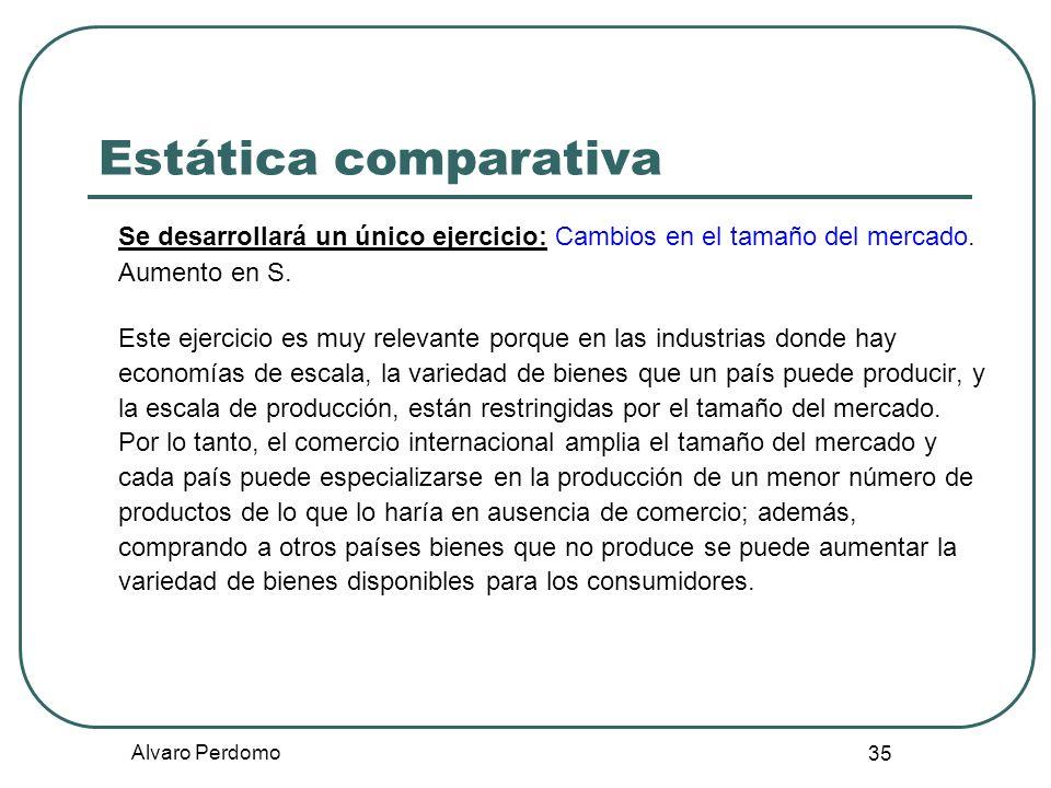 Alvaro Perdomo 35 Estática comparativa Se desarrollará un único ejercicio: Cambios en el tamaño del mercado. Aumento en S. Este ejercicio es muy relev