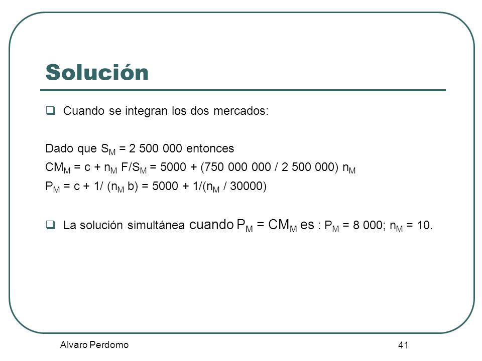 Alvaro Perdomo 41 Cuando se integran los dos mercados: Dado que S M = 2 500 000 entonces CM M = c + n M F/S M = 5000 + (750 000 000 / 2 500 000) n M P