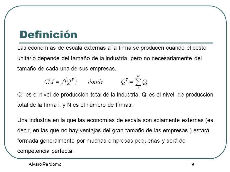 Alvaro Perdomo 9 Definición Las economías de escala externas a la firma se producen cuando el coste unitario depende del tamaño de la industria, pero