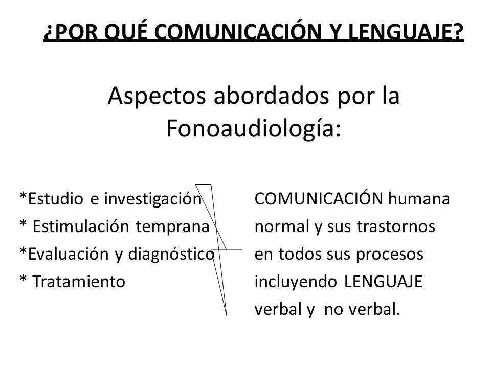 ¿POR QUÉ COMUNICACIÓN Y LENGUAJE? Aspectos abordados por la Fonoaudiología: *Estudio e investigación * Estimulación temprana *Evaluación y diagnóstico