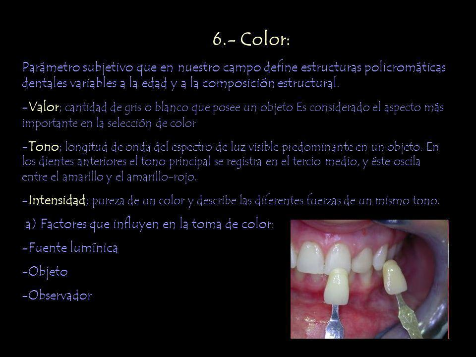 Parámetro subjetivo que en nuestro campo define estructuras policromáticas dentales variables a la edad y a la composición estructural. -Valor; cantid