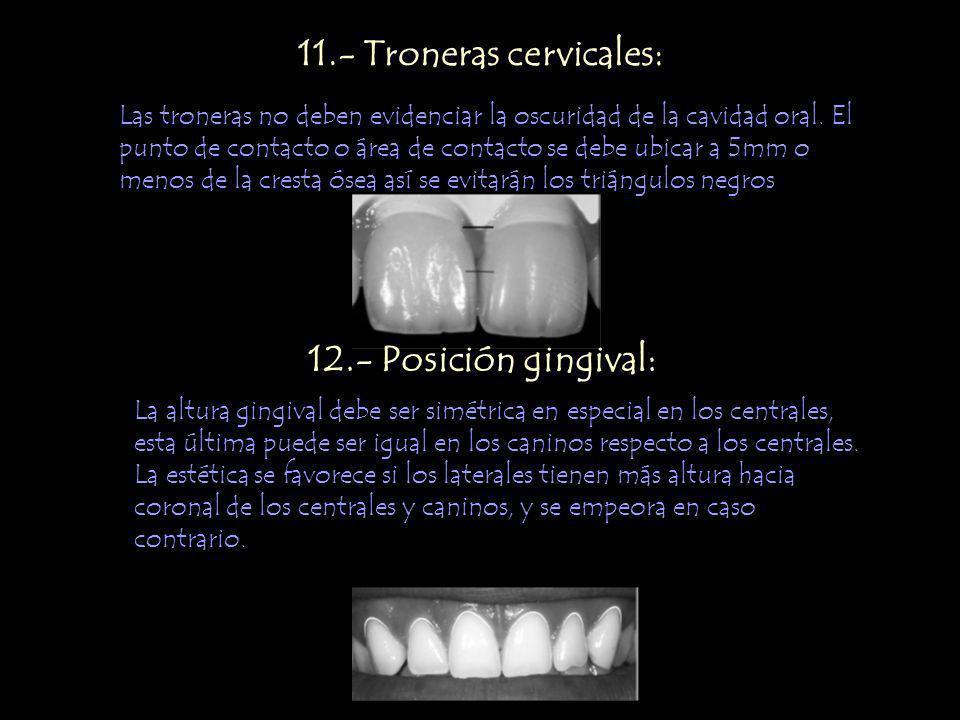 11.- Troneras cervicales: Las troneras no deben evidenciar la oscuridad de la cavidad oral. El punto de contacto o área de contacto se debe ubicar a 5