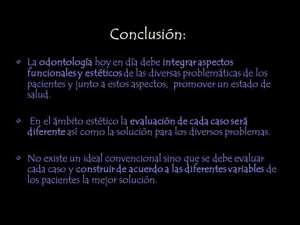Conclusión: La odontología hoy en día debe integrar aspectos funcionales y estéticos de las diversas problemáticas de los pacientes y junto a estos as