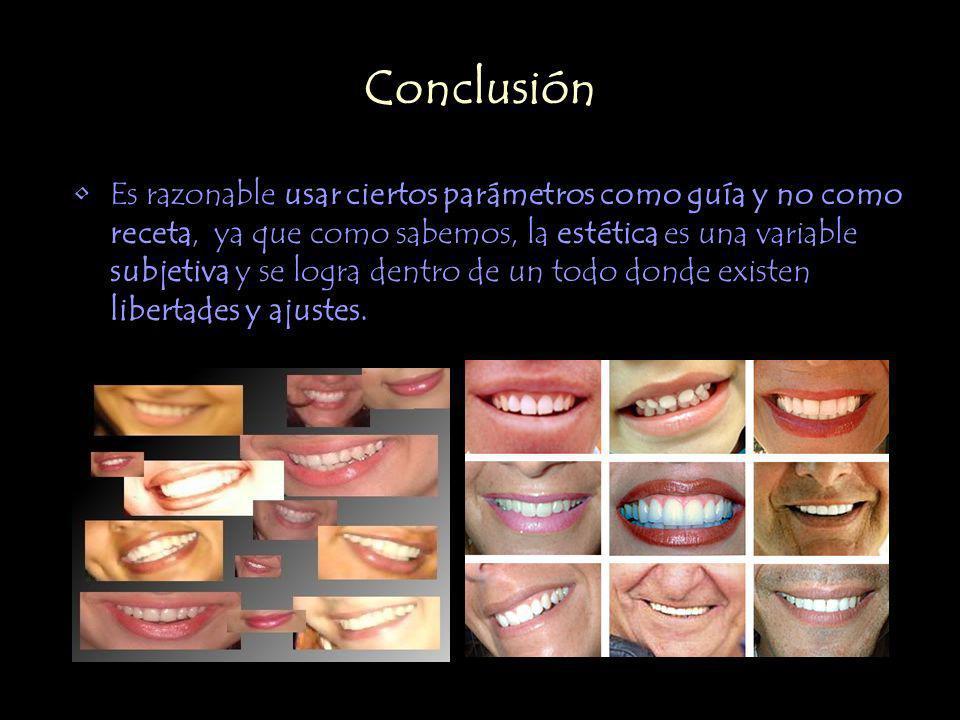 Conclusión Es razonable usar ciertos parámetros como guía y no como receta, ya que como sabemos, la estética es una variable subjetiva y se logra dent