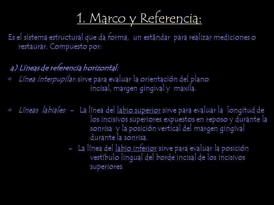1. Marco y Referencia: Es el sistema estructural que da forma, un estándar para realizar mediciones o restaurar. Compuesto por: a) Líneas de referenci