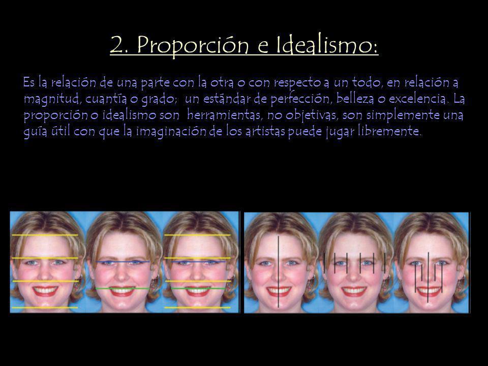 2. Proporción e Idealismo: Es la relación de una parte con la otra o con respecto a un todo, en relación a magnitud, cuantía o grado; un estándar de p