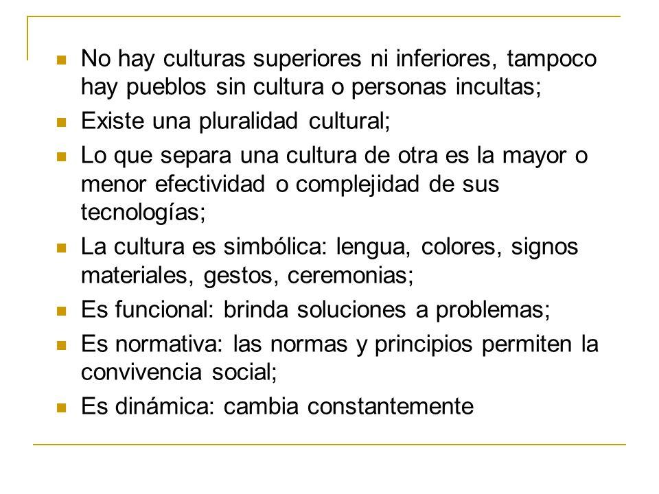 No hay culturas superiores ni inferiores, tampoco hay pueblos sin cultura o personas incultas; Existe una pluralidad cultural; Lo que separa una cultu